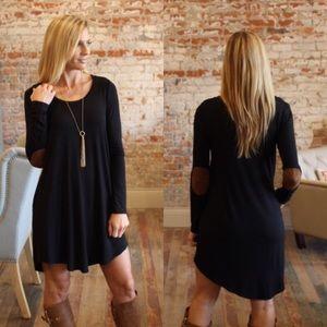 Dresses & Skirts - Black suede elbow dress